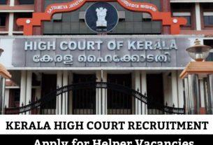Kerala High Court Helper Recruitment 2020